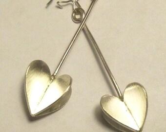 3D Heart Handmade 925 Sterling Silver Earrings for Pierced-ear by SmithSilver