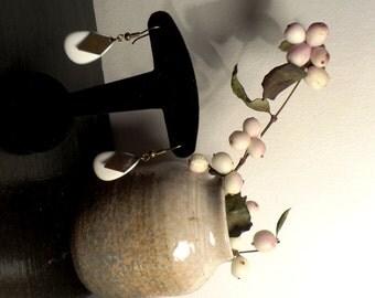 Earrings white enamel - copper