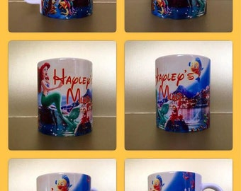 personalised mug cup little mermaid ariel sebastian disney style :)