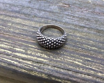 Dotted Sterling Silver Cluster Ring #067