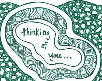 """5x7 greeting card """"Thinking of you"""""""