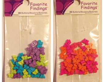 2 Packs of Small Plastic Butterfly Buttons in 5 Different Colors, 98 Buttons Total.