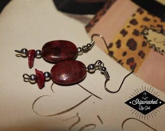 Maroon, handmade, beaded earrings!