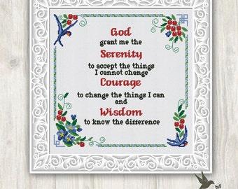 God Grant Me Serenity Cross Stitch Pattern Chart
