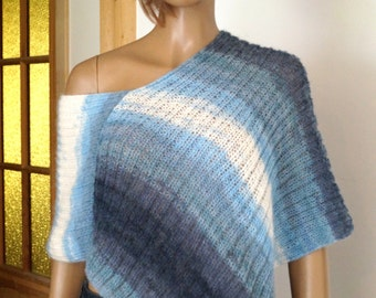 Poncho Hand knitted poncho for Women Girls Gift idea for her A lot of Blue and white colors Poncho for all seasons  knit shawl. Knit sweater