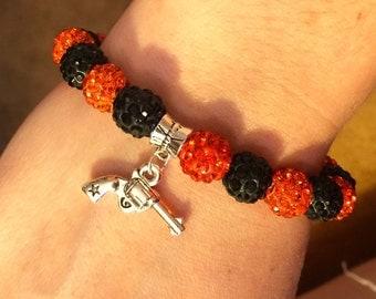 Oklahoma state university rhinestone bracelet, pistol pete bracelet, OSU pistol charm bracelet
