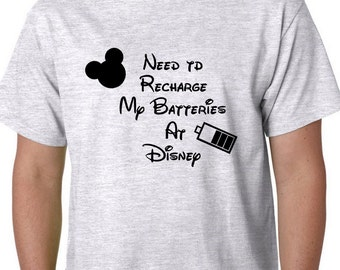 Need to Recharge my Batteries at Disney, Disney Couple Shirts, Funny Custom Disney Vacation Shirts, Disney Shirts, Disney Lover