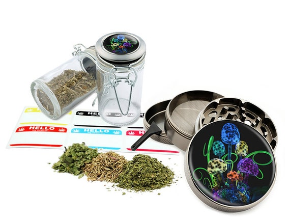 "Mushrooms - 2.5"" Zinc Alloy Grinder & 75ml Locking Top Glass Jar Combo Gift Set Item # G022015-007"