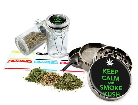 "Keep Clam... - 2.5"" Zinc Alloy Grinder & 75ml Locking Top Glass Jar Combo Gift Set Item # G022015-008"