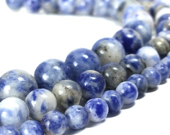 "Natural Sodalite Blue Spot Stone Beads 15.5"" strand Genuine 4mm 6mm 8mm 10mm"