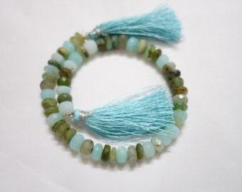Peruvian Opal Faceted Rondelle, Peruvian Opal Beads , Peruvian Opal Rondelle Beads, Blue Opal Beads