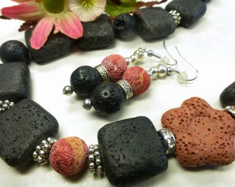 Black lava set with coral and lava roses