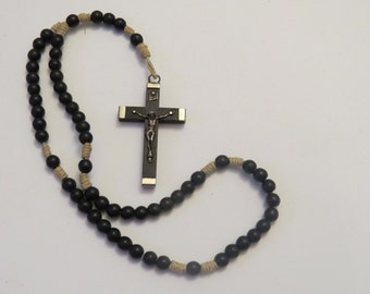 Vintage Natural Stone Beads Rosary Crucifix