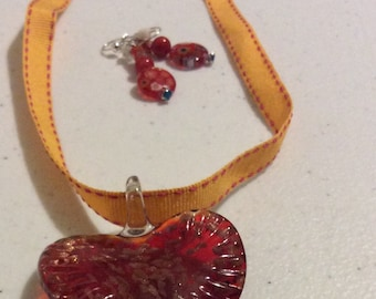 Orange Ribbon necklace