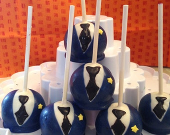 Police Officer Cake Pops- One Dozen-Chocolate-Vanilla-Funfetti-Vanilla with Chocolate Chip