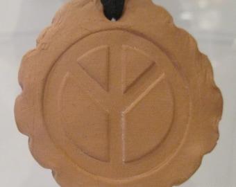 Essential Oil Pendant (Peace, smooth pie edges - faux suede black cord)