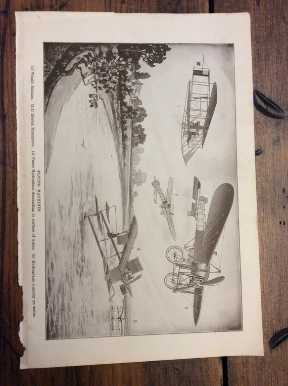 Antique Print - Airplanes, Flying Machines, Wright Biplane, Book Plate, Lithograph (B020)