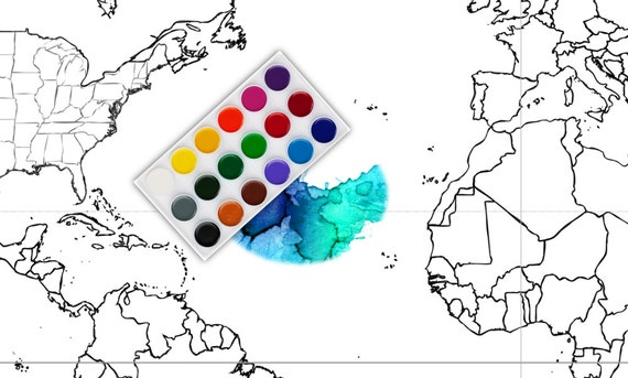 World Map Coloring Page | Black & White Map | Countries ...
