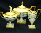 Belleek Lenox Limoges rose border exquisite Teapot creamer and sugar bowl set
