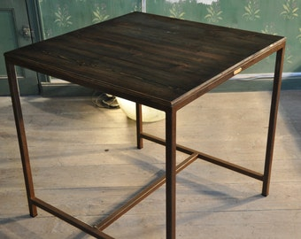 Table square antique wood & metal rust.