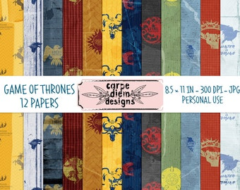 Game of Thrones 8,5 x 11 Digital Paper Pack - 12 papers with textures such as grungy, creases and folds