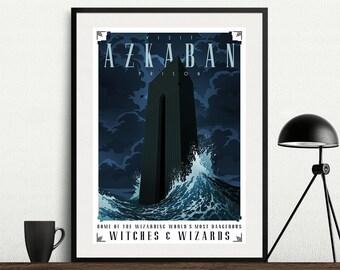 Travel To Azkaban Prison Harry Potter Alternative Artwork Graphic Traveling Poster Print