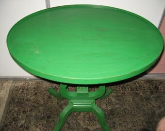 Beautiful 1940's Harp Design Shabby Chic Side Table Chippy Paint Occasional Table! #BV
