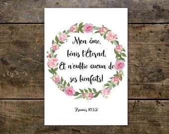 Affiche Poster Poster A4 avec Verset Biblique Psaume 103:2