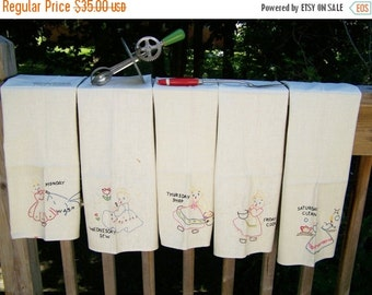 Vacation Sale Vintage Embroidered Days of the Week Towels – set of 5 only