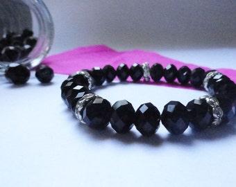 Bracelet black strass