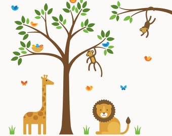 Nursery Safari Decal, Nursery Safari, Nursery Wall Decal - Large