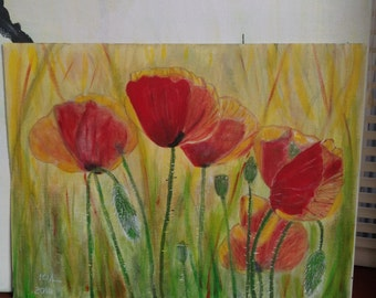 Poppies acrylic painting