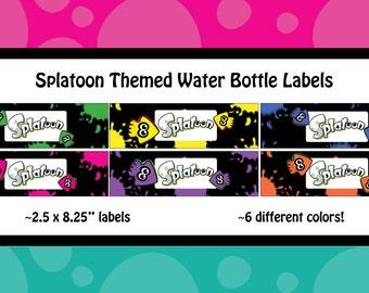 Splatoon Themed Water Bottle Labels