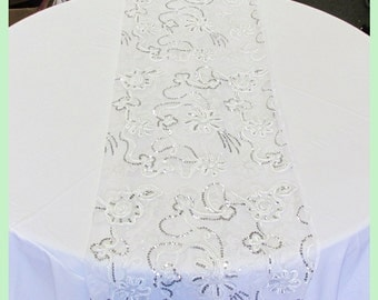 "3 Pcs. 17"" X 108"" Guipure 1258 Table Runner Wedding Decoration White"