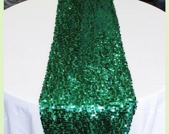 "Table Runner Mesh Sequin 3 Pcs. 18"" X 108"" Wedding Decoration - Green"