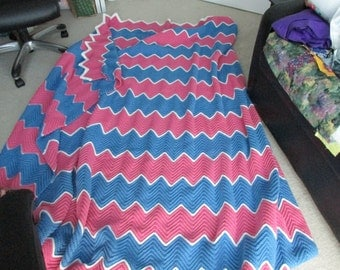 Pink and Blue wavy crocheted blanket