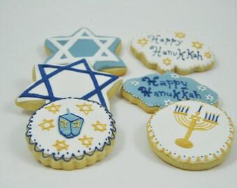 Assorted Happy Hanukkah Set of Decorated Sugar Cookies - Half a  Dozen - Star of David - Menorah - Dreidel Game