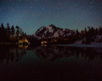 Star Photography, Astrophotography, Night Sky Photo, Mountain Reflection, Washington State Mountains, Mount Shuksan, Cascades, Picture Lake