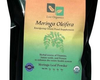 Live Organics Moringa Powder 2 oz > 11 lb - Certified USDA Organic