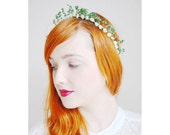 Vintage Myrtle Bridal Garland, Vintage Myrtle Halo, Green Paper Flower Halo, German Leaf Tiara, 1920s Headpiece