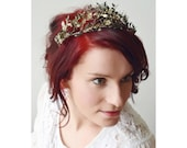 Silver Wedding Tiara and Corsage Antique,  800 Silver German Myrtle Headpiece with Patina
