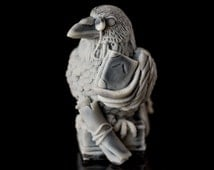 Marble Scientist Raven Figurine Bird Art Scupture Handmade Miniature Statue For Home or Desk Decor Special Gift Idea