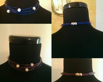 Multi row necklace with Swarovski beads