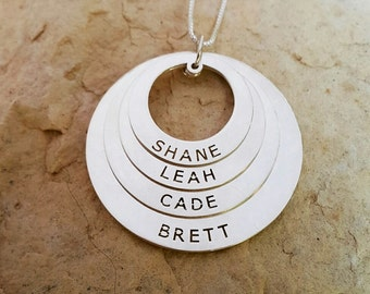 Family Name Necklace Silver 4 name necklace / Children necklace /  Mother children Sterling Silver name disc set mother day gift