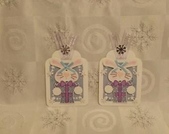 Handmade Christmas Bunny Tags/Toppers