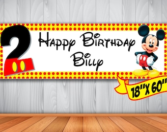 Mickey Mouse Personalized Indoor/Outdoor Birthday Banner