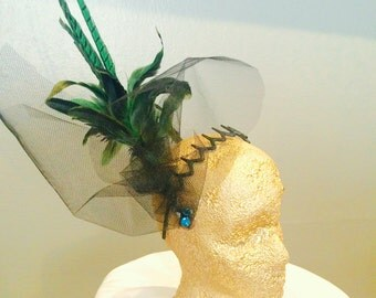 Turquoise and Black Feather fascinator