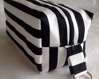 Stripe BOXY Cosmetic Bag,Dopp Kit,Makeup Bag,Cosmetic Bag,Cosmetic Case,Large Makeup Case,Toiletry Bag,Gift for Her,Bags,Purses,WEDDING Gift