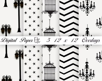 Digital Overlays, Transparent Overlays, Bird Cage, Chandelier, PNG Format, Scrapbooking Supplies, 12 x 12 P 43B