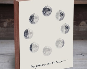 Moon Phases Wall Art - Moon Phases Print - Moon Phases - Wood Art Print